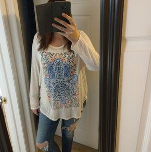 Lucky Brand Hamsa Hand Fatima Long Sleeved Shirt